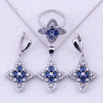 Sparkly Blue Imitation Crystal & White Zircon 925 <b>Sterling</b> <b>Silver</b> Jewelry Sets For Women Party Trend Fashion Jewelry J0075