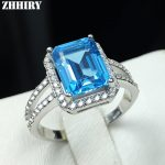 Natural Blue topaz gem <b>ring</b> genuine solid 925 <b>sterling</b> <b>silver</b> women gemstone <b>rings</b> fine jewelry