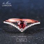 LAMOON Fine Jewelry Womens Body <b>Rings</b> Love Heart Red Garnet <b>Ring</b> 925 <b>Sterling</b> <b>Silver</b> Natural Gemstone <b>Ring</b> For Girls Wedding