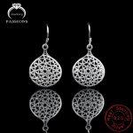Hot Europe Ethnic 925 <b>Sterling</b> <b>Silver</b> Round Hollow Drop <b>Earrings</b> Fashion Elegant Long Pendant <b>Earrings</b> For Women Earings Jewelry