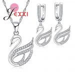 JEXXI Women Ladies Noble <b>Silver</b> Jewerly Best Match Necklace <b>Earrings</b> Set for Wedding Party Bridal 925 <b>Sterling</b> <b>Silver</b> Crystal Je