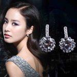 Fashion Hot Sale Wholesale 2017 New Design Super Shiny Zircon 925 <b>Sterling</b> <b>Silver</b> Stud <b>Earrings</b> for Women Girls Jewelry Gift