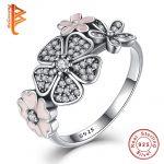 925 <b>Sterling</b> <b>Silver</b> Shimmering Bouquet,Pink Enamel&Clear CZ Cherry Blossom Daisy Flower Finger <b>Rings</b> for Women Wedding Gift