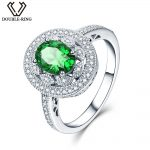 Created Emerald <b>Rings</b> set with Zircon in 925 <b>Sterling</b> <b>Silver</b> 1.89ct Green Oval Gemstone <b>Rings</b> for Women Engagement Anniversary
