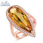 Lamoon Luxury 100% Natural Gemstone Citrine Teardrop Wedding <b>ring</b> 925 <b>Sterling</b> <b>Silver</b> Fine Jewelry For woman LMRI041