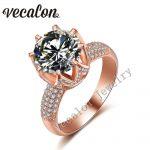 Vecalon Rose gold wedding <b>ring</b> for women Round cut 6ct AAAAA Zircon Cz 925 <b>Sterling</b> <b>Silver</b> Female Engagement Band <b>ring</b>