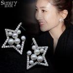 SIMIRY Women <b>Earring</b> Star Shaped S925 <b>Sterling</b> <b>Silver</b> pin AAA CZ Crystal Pearl Stud <b>Earrings</b> Jewelry Gifts