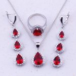 Fascinating Red Created Garnet & White Zircon 925 <b>Sterling</b> <b>Silver</b> Water Drop Jewelry Sets For Women Fashion Jewelry J0026