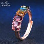 LAMOON <b>Rings</b> Real Natural 6pcs 1.5ct Oval Multi-color Tourmaline <b>Ring</b> 925 <b>Sterling</b> <b>Silver</b> Fine Jewelry Engagement Anillos Mujer