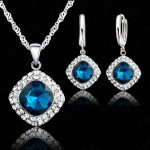 Hottest 925 <b>Sterling</b> <b>Silver</b> Crystal Necklace Jewelry Set ,Colorful Crystal Rhinestone Necklace <b>Earring</b> Jewelry Promotion Price