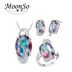 Fashion multi-color blue 925 <b>Sterling</b> <b>Silver</b> Jewelry set for women Wedding African trendy party christmas gifts Jewelry J651