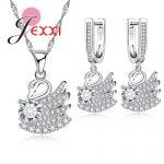 JEXXI Wedding Party Jewelry Set 925 <b>Sterling</b> <b>Silver</b> Jewelry <b>Earring</b> Necklace Crystal Set Fashion Elegant Swan Jewelry for Women