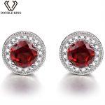 Double-R Garnet stud Earrings natural Ruby Gemstone 925 <b>Sterling</b> <b>Silver</b> January Birthstone Hypoallergenic For Noble Ladies