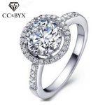 Round shape fashion <b>rings</b> for women fine <b>sterling</b> <b>silver</b> engagement <b>rings</b> wedding jewelry white gold color accessories CC038