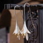 925 <b>Sterling</b> <b>Silver</b> Long Flower <b>Earrings</b> for Women New Design Lovely Girls Christmas Gift Statement Jewelry Pendientes Plata 925