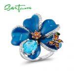 SANTUZZA <b>Silver</b> Flower <b>Ring</b> For Women 925 <b>Sterling</b> <b>Silver</b> Fashion <b>Rings</b> for Women Cubic Zirconia Ringen Party Jewelry Enamel