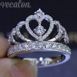 Vecalon 2016 Female Crown <b>ring</b> AAAAA Zircon Cz 925 <b>Sterling</b> <b>Silver</b> Engagement wedding Band <b>ring</b> for women
