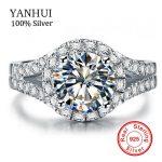 YANHUI Real 925 <b>Sterling</b> <b>Silver</b> <b>Ring</b> With S925 Stamp 3 Carat CZ Diamant Wedding <b>Rings</b> For Women <b>Ring</b> Size 4 5 6 7 8 9 10 LR510