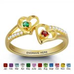 Engrave & Birthstone Personalized <b>Silver</b> <b>Ring</b> DIY Double Heart Name <b>Ring</b> Customize Jewelry Unique Love Gift ( RI101797)