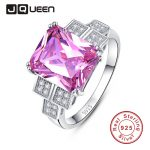 JQUEEN Luxury Wedding Band 925 <b>Silver</b> Jewelry Cubic Zirconia Pink Topaz Wedding and Engagement <b>Rings</b> S 6-9 nuevos anillos 2016