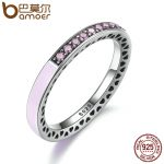 BAMOER 100% 925 <b>Sterling</b> <b>Silver</b> Radiant Hearts Light Pink Enamel & Clear CZ Finger <b>Ring</b> Women Mother Gift Jewelry PA7603