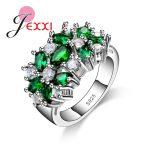 JEXXI Hot Selling 925 <b>Sterling</b> <b>Silver</b> Women Engagement Wedding <b>Rings</b> With Colorfull Shinny CZ Cubic For Ladies