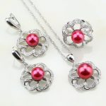 Flower <b>Sterling</b> <b>Silver</b> 925 Red Imitation Pearl White Cubic Zirconia Jewelry Set For Women Wedding Earrings/<b>Ring</b>/Pendant/Necklace