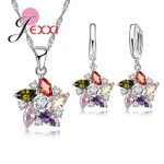 JEXXI Brand Colorful Cubic Zirconia <b>Sterling</b> <b>Silver</b> Wedding Bridal Wedding Jewelry Sets For Women Pendant Necklace <b>Earring</b> Sets