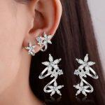2017 new arrival hot sell fashion shiny crystal flower 925 <b>sterling</b> <b>silver</b> ladies`clip <b>earrings</b> women jewelry wholesale gift