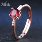 LAMOON 0.5ct Garnet Natural Gemstone <b>Rings</b> Classic Wedding 925 <b>Sterling</b> <b>Silver</b> <b>Ring</b> Rose Romantic Fashion Fine Jewelry