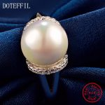 AAA 8mm Pearl Charm Flower <b>Rings</b> Woman 100% 925 <b>Sterling</b> <b>Silver</b> Fashion <b>Rings</b> High Quality Woman 925 <b>Silver</b> Jewelry