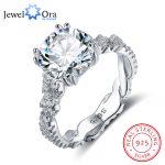 Engagement <b>Ring</b> 10mm 3.5 CT Hearts Arrows CZ 925 <b>Sterling</b> <b>Silver</b> <b>Rings</b> For Women Best Gift for Girlfriend(JewelOra RI102327)