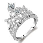 Jewelry Fashion 925 <b>Sterling</b> <b>Silver</b> Color AAAAA Zircon Crown <b>Rings</b> Cocktail Wedding Band <b>Ring</b> for Women RA022