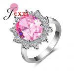 JEXXI Sunflower Design Big Oval Pink Crystal Clear CZ Prong Setting Bague Femme 925 <b>Sterling</b> <b>Silver</b> <b>Rings</b> for Women Wedding Jewe