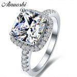 AINUOSHI Luxury 3 Carat Engagement Halo <b>Rings</b> Princess Stlye Cushion Cut Anelli Donna 925 <b>Sterling</b> <b>Silver</b> Women Wedding Jewelry