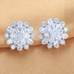 Lingdong fashion brand S925 <b>silver</b> <b>Earring</b> receptacle snowflake series Micro mosaic fashion exquisite gift free shipping