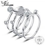 JewelryPalace Heart Love 4 Pcs Rope Band Stackable <b>Ring</b> Sets 925 <b>Sterling</b> <b>Silver</b> Jewelry For Women Wedding Fine Lovers Gift