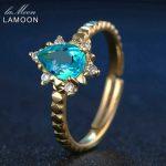 LAMOON 925 <b>Sterling</b> <b>Silver</b> Jewelry Women <b>Rings</b> 5x7mm 1ct Natural Blue Trendy Teardrop Apatite <b>Ring</b> Romantic Wedding Bands New