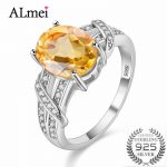 Almei 2.2CT Yellow Citrine 925 <b>Sterling</b> <b>Silver</b> Wedding Engagemant <b>Rings</b> Fine Jewelry for Women Made of Natural Stones 49% FJ003