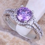 Marvelous Purple Cubic Zirconia White CZ 925 <b>Sterling</b> <b>Silver</b> <b>Ring</b> For Women Size 5 / 6 / 7 / 8 / 9 / 10 S0447