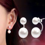 Fashion High Quality 925 <b>Sterling</b> <b>Silver</b> Double Sided Shell Pearl Stud <b>Earrings</b> Jewelry Long <b>Earrings</b> For Women Ear Jewelry Gift