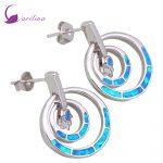 Promotion 925 <b>Sterling</b> <b>Silver</b> jewelry Blue Fire Opal <b>earrings</b> fashion jewelry for women E342