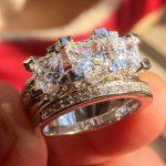 Bohemian Luxurious Women's Fashions 925 <b>Sterling</b> <b>Silver</b> Jewelry Three-Square Stone <b>Rings</b> sets wedding <b>ring</b> finger for women gift