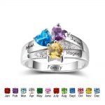 Personalized Stackable <b>Rings</b> 925 <b>Sterling</b> <b>Silver</b> Heart Shape Three Stones <b>Rings</b> DIY Name Friends Jewelry Gift Ideas (RI102403)