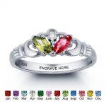925 <b>Sterling</b> <b>Silver</b> Name Engrave <b>Ring</b> Colorful Birthstone <b>Rings</b> For Moms Personalised Gift Jewelry With Free Box (RI101780)