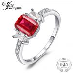 JewelryPalace Modern 4.4ct Emerald Cut Created Ruby & CZ Engagement <b>Rings</b> For Women Gift 925 <b>Sterling</b> <b>Silver</b> Charms Fine Jewelry