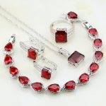 Red Cubic Zirconia White Zircon 925 <b>Sterling</b> <b>Silver</b> Jewelry Sets For Women Engagement Necklace/Earrings/Bracelet/Pendant/<b>Ring</b>