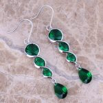 Glaring Green Cubic Zirconia 925 <b>Sterling</b> <b>Silver</b> Drop Dangle <b>Earrings</b> For Women S0211