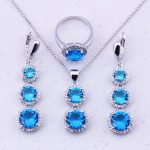 Valuable Sky Blue Crystal Cubic Zircon 925 <b>Sterling</b> <b>Silver</b> Jewelry Sets For Women Party Fashion Jewelry Free Gift Box J0020