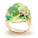Enamel Green Jasper Flower Leaf 925 <b>Sterling</b> <b>Silver</b> Adjustable Golden <b>Ring</b>
